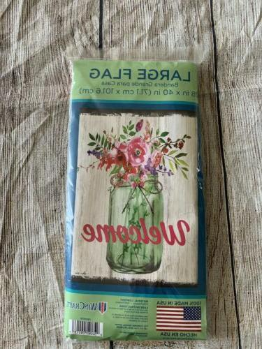 outdoor flag welcome mason jar floral brand