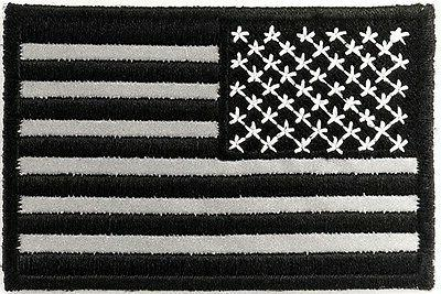 Reflective Black American Patch, Flag