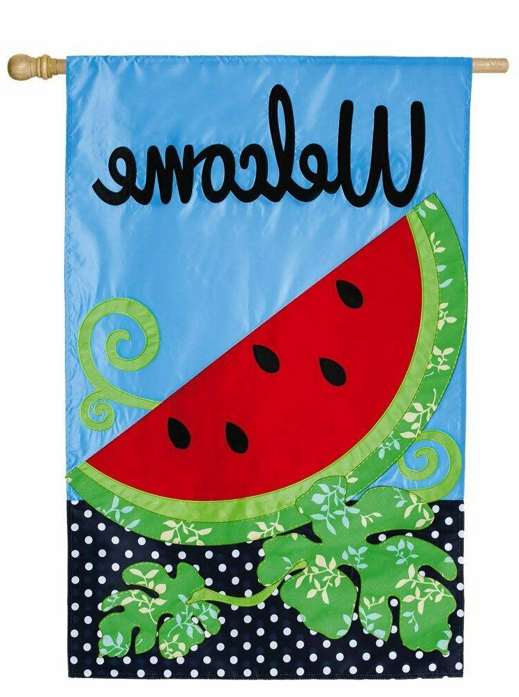 "Summer Watermelon Welcome Applique House Flag 28"" X 44"""