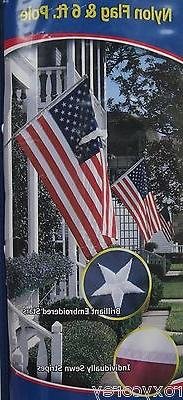 Annin U.S. American Flag & Pole Set 3 ft x 5 ft Nylon Flag &