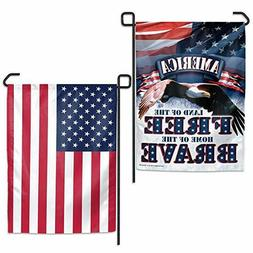 Land of the Free America Garden Flag Double Sided Eagle Patr