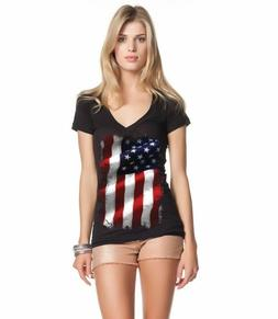 Large American Flag Patriotic Women's V-Neck T-shirt 4th of