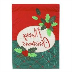 Evergreen Merry Christmas Embellished Garden Flag - Free Shi