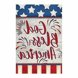 Morigins God Bless America 4th of July House Flag Double Sid