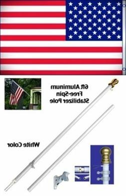 NEW 3'x5' US AMERICAN FLAG Polyester w/ 6' Aluminum Tangle F