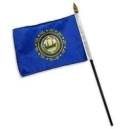 "New Hampshire 4"" x 6"" Table Top Flag with 10"" Black Plastic"