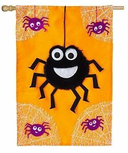 "NEW EVERGREEN LARGE APPLIQUE 3-D FLAG 28x44"" ""DANCING SPIDER"