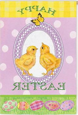 NEW LARGE EVERGREEN FLAG HAPPY EASTER BABY CHICKS TWO-SIDED