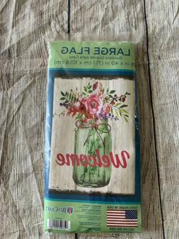 """WinCraft Outdoor Flag """"Welcome"""" Mason Jar Floral Brand N"""