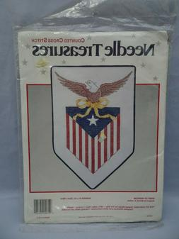 Patriotic American Flag Counted Cross Stitch Kit Eagle Craft