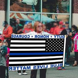 Police Blue Lives Matter American Flag Duty Honor Courage US