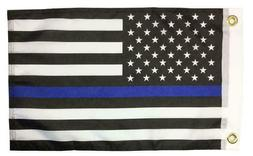 Police Thin Blue Line Black and White American 12x18 Boat/Mo