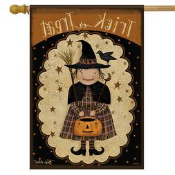 """Primitive Witch Halloween House Flag Trick or Treat Crow 28"""""""