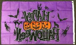 3x5 Purple Happy Halloween Flag Pumpkins Bats Ghosts Cat Out