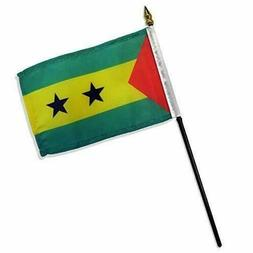 """Sao Tome & Principe Desk Flag With Gold Spear Tip & 10"""" Stic"""