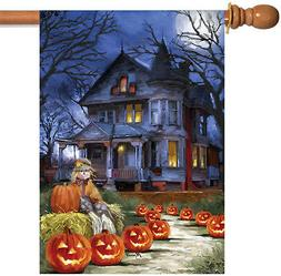 12.5 x 18 Toland Spooky Manor Halloween Fall Lantern Pumpkin