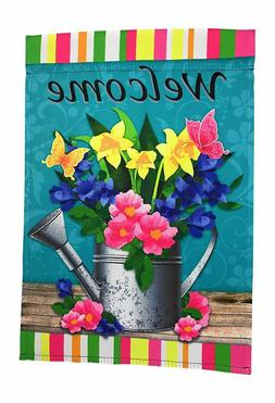 """Spring Flowers Welcome Garden Flag, 12"""" x 18"""" Double Sided"""