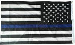 Thin Blue Line American Flag 3x5 ft US Black & White Police