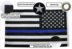 Thin Blue Line American Flag Police Embroidered Stars Sewn S