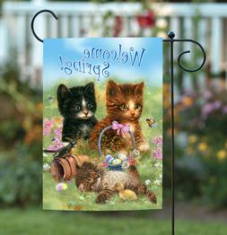 Toland Welcome Spring Kittens 12.5 x 18 Cute Kitty Cat Easte