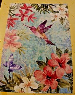 """Evergreen Tropical Flowers & Hummingbird Double Sided Suede"