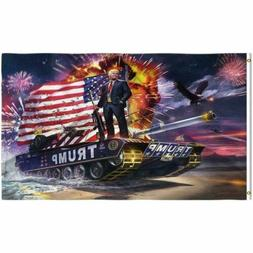 Trump 2020 Tank Fireworks Eagle Flag 3x5 with Grommets New