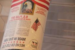 US Flag Set 3'x 5' W/ 6' Steel Pole Made in USA New Poly-Cot
