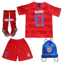 USA Alex Morgan #13 Kids Red Home Soccer Jersey & Shorts Soc