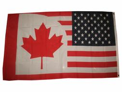 usa canada combination friendship 3x5 polyester flag