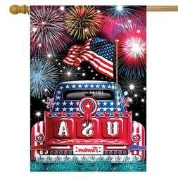 """USA Pickup Patriotic House Flag Fireworks Fourth of July 28"""""""