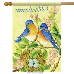Watercolor Bluebirds Spring House Flag Welcome Floral Decora