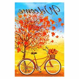Morigins Welcome Autumn Bicycle Decorative Red Fall Maple Le