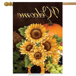 """Welcome Fall Sunflowers House Flag Autumn Floral 28"""" x 40"""" B"""