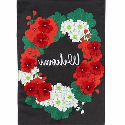 Evergreen Welcome Geraniums Double Sided Applique Burlap Gar