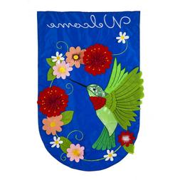 Evergreen Welcome Hummingbird Double Sided Sculpted Applique
