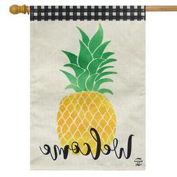 """Welcome Pineapple Everyday Burlap House Flag 28"""" x 40"""" Summe"""