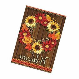 ALAZA Welcome Wreath Sunflower Maple Leaves Cabin Double Sid