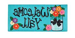 "Evergreen 10"" x 22"" Welcome Y'all Floral Polka Dot Decorativ"