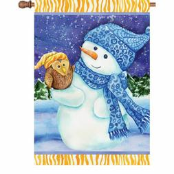 winter snowman and owl house flag